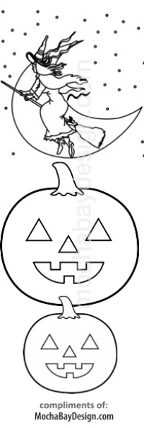 print Halloween Witch coloring bookmark