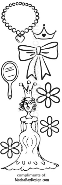 print coloring page - Princess with crown