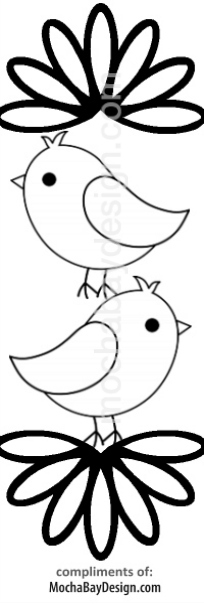 print coloring page - Cute Birds