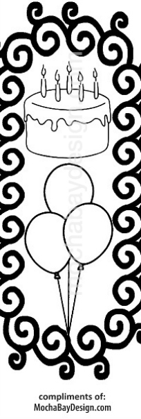 print coloring page - Birthday Balloons and cake