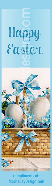 print Easter bookmark: blue violets with ribbons, white eggs in a vintage basket