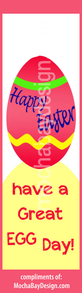print bookmark: colors of red, yellow, blue, green and says Have a Great Egg Day