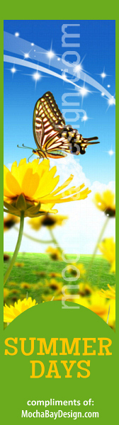 Summer Days bookmark with butterfly yellow field flowers and sparkles