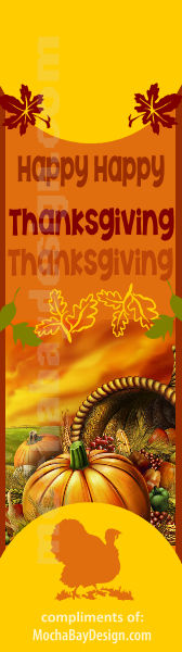 printable Happy Thanksgiving full color bookmark
