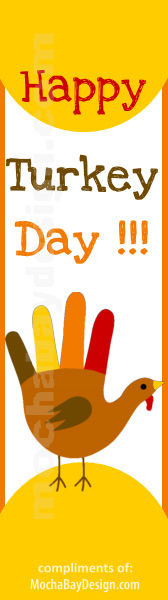 printable Happy Turkey Day full color Thanksgiving bookmark