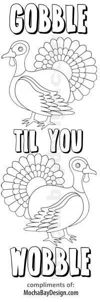 Gobble Til You Wobble printable Thanksgiving kids bookmark