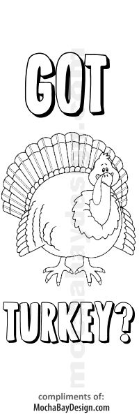 Printable Coloring Thanksgiving Got Turkey? Bookmark ...