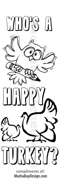 Who's a Happy Turkey Thanksgiving printable coloring bookmark