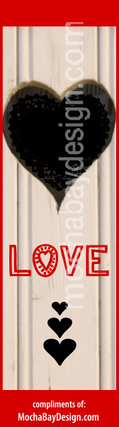 Rustic design with a black heart and the word - Love - print bookmark