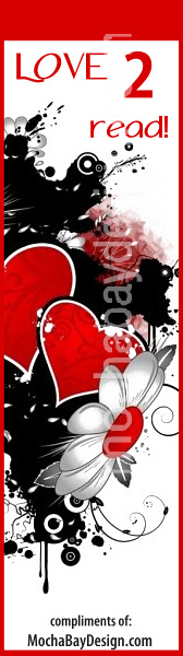 Love 2 Read - Black, red and white heart design
