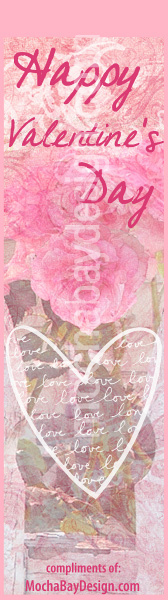 bookmark - Pink vintage Happy Valentine's Day design with roses and outline white heart