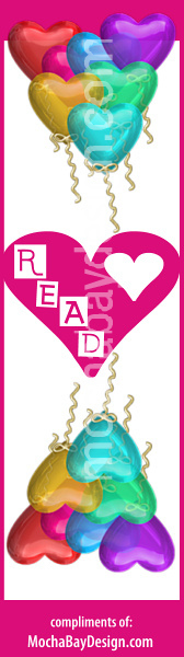 "Heart Balloons with text ""R E A D"" - print Valentine's Day bookmark"