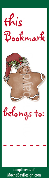 print bookmark - Gingerbread Cookie with saying This Bookmark Belongs to: