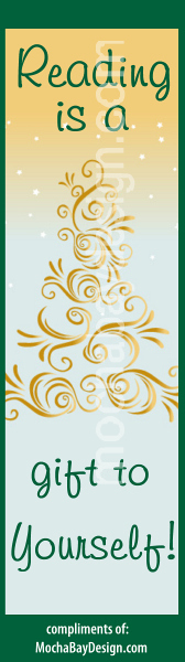 Christmas bookmark: Gold Tree with Reading is a gift to yourself
