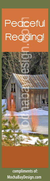 print Christmas bookmark: Cabin in Snowy Woods with Peaceful Reading