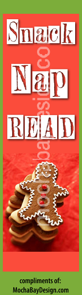 print Christmas holiday bookmark: smiling gingerbread man with Snack Nap Read
