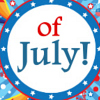 printable full color 4th of July holiday bookmark Colorful Stars Exploding and text Happy 4th of July