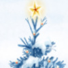 Winter scenery with snowy Christmas tree, with a star atop printable Christmas bookmark