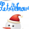Fluffy Snowman, blue snowflake ornaments with text: Let It Snow printable Christmas bookmark