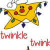 Silly Star holding a string of lights and a decorated tree with text: Twinkle Twinkle printable Christmas bookmark
