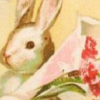 print Easter bookmark - vintage Rabbit holding a flower bouwuet