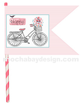 printable vintage Pink Bicycle Happy Flag