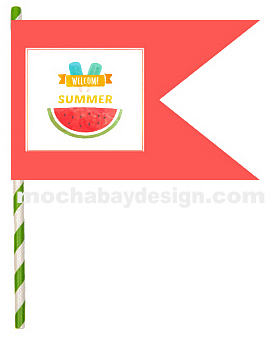 print Welcome Summer Watermelon Happy Flag