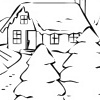 printable Cabin in Woods Christmas Coloring bookmark
