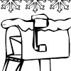 printable Snowy Mailbox Christmas Coloring bookmark