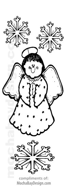 Angel with Snowflakes free printable Christmas coloring bookmark