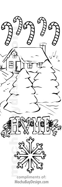 Snowy House in Woods printable Christmas coloring bookmark