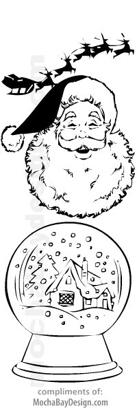 Santa Claus Face and a Snow Globe printable Christmas coloring bookmark