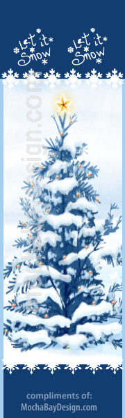 Snowy Blue Christmas Tree: Winter scenery with snowy Christmas tree, with a star atop and text: Let It Snow printable bookmark