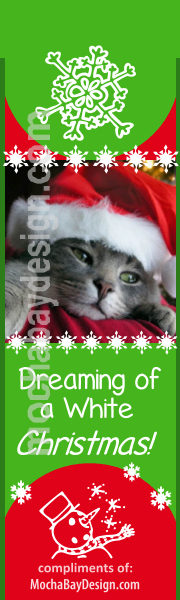 Adorable Christmas Cat with Santa Hat and text: Dreaming of a White Christmas printable bookmark