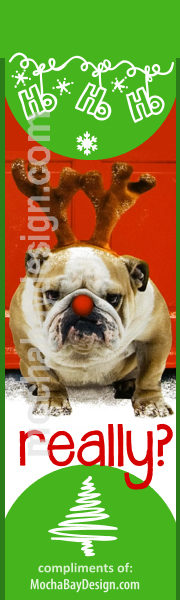 Christmas Dog with reindeer antlers and text: Really? printable bookmark