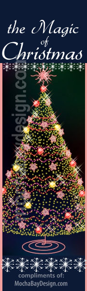 Decorated Tree with hundreds of mini-lights and text: The Magic of Christmas printable Christmas bookmark