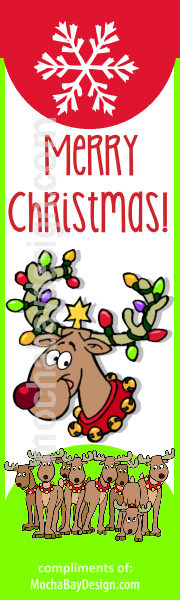 Happy Reindeer with decorated Antlers, a big snowflake and text: Merry Christmas printable bookmark