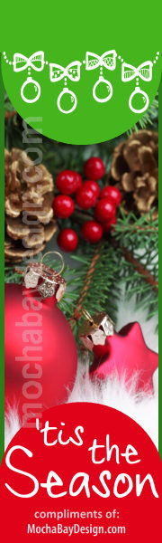 Holiday Pinecones, Berries, Red Ornaments with text: 'Tis the Season printable Christmas bookmark