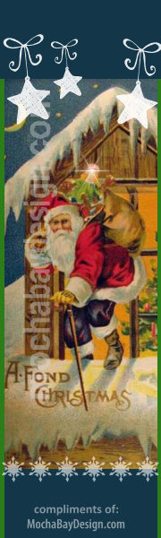 Very vintage Santa Claus up on the snowy roof top with bag of toys printable Christmas bookmark