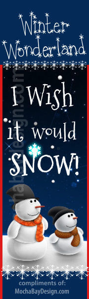 Adorable Snowmen looking into sky with text: I Wish it Would Snow printable Christmas bookmark