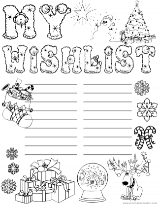 printable kids Christmas Wishlist to color and write what they want for Christmas