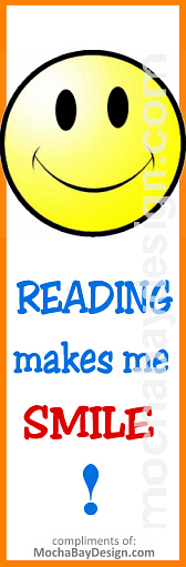 Print Bookmark 'Reading makes me Smile (smiley face)'