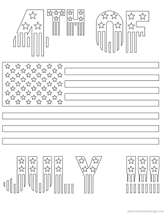 Printable 4th of july holiday coloring page of stars and for Stars and stripes coloring pages