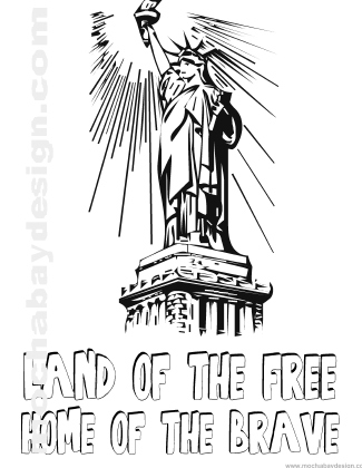 Printable 4th of July Holiday Coloring Page of Statue of Liberty