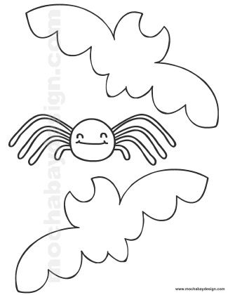 Printable Halloween Coloring Page of Bats and Spider