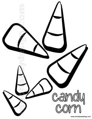 Printable Halloween Coloring Page of Candycorn : MochaBayDesign.com