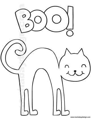 Printable Halloween Coloring Page of Cat saying Boo