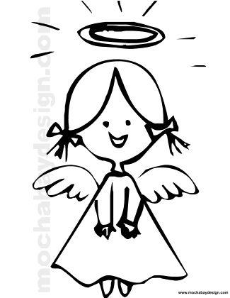 Printable Christmas Angel Smiling Coloring Page : MochaBayDesign.com