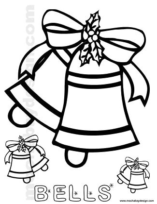 Printable Christmas Bells And Bow Kids Coloring Page