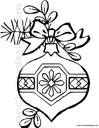 Printable Christmas Ornament Coloring Page : MochaBayDesign.com